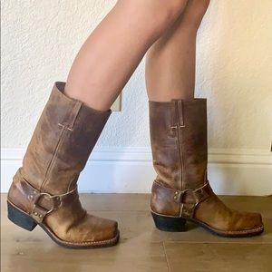 Frye Mid-Calf Harness Boots In Rugged Leather